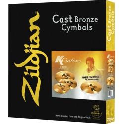 Pack cymbales Zildjian K Custom Hybrid set avec crash 18 Free