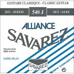 Cordes de guitare classique Savarez Alliance HT bleues tiran fort 540J