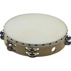 Tambourin en bois à peau fixe rivetée 2 rangées de cymbalettes 10 pouces
