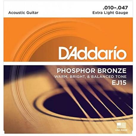 cordes acoustique Daddario EJ15 phosphor bronze 10-47