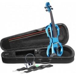 Violon électrique 4/4 Stagg EVN X avec housse bleu métallique