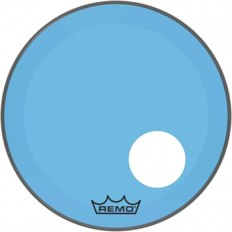 Peau Remo colortone Powerstroke 3 percée 20 pouces bleue