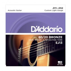 Jeu de cordes acoustique Daddario EJ13 custom Light 11-52
