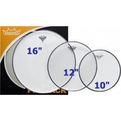 """Pack de peaux de tom Remo Ambassador 10""""12""""16"""" transparentes"""