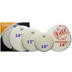 """Pack de peaux de tom Remo Ambassador 10""""12""""14"""" sablées"""