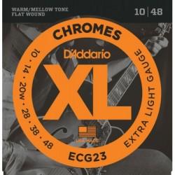 Cordes électrique filé plat Daddario Chrome ECG23 10-48