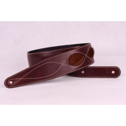 Sangle cuir Hemr insert fourrure bordeaux