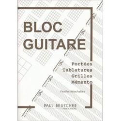 Bloc tablature guitare avec portées Beuscher