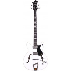 Basse électrique hollow body Hagstrom Viking blanche
