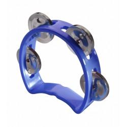 Mini tambourin en plastique avec 4 cymbalettes bleu