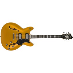 Guitare électrique hollow body Hagstrom Super Viking Jaune transparent flammé