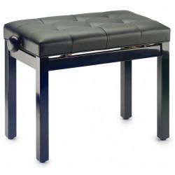 Banquette piano Stagg noire brillante assise skai noir