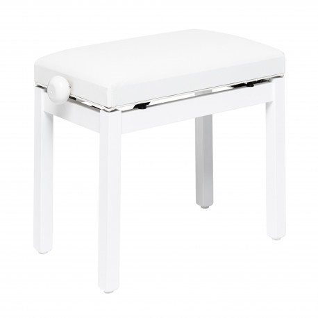 Banquette piano Stagg blanc mat assise skai blanc