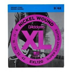 Cordes guitare électrique 9-42 Daddario EXL120